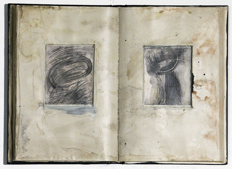Double Ruin, mixed media on discarded book
