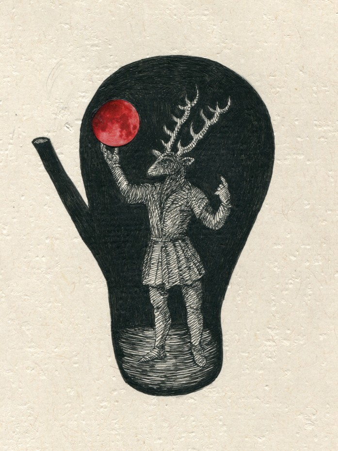 Stag Prince with Moon, 12 x 9